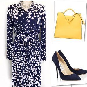 Coldwater Creek navy white polka dot dress sz 12